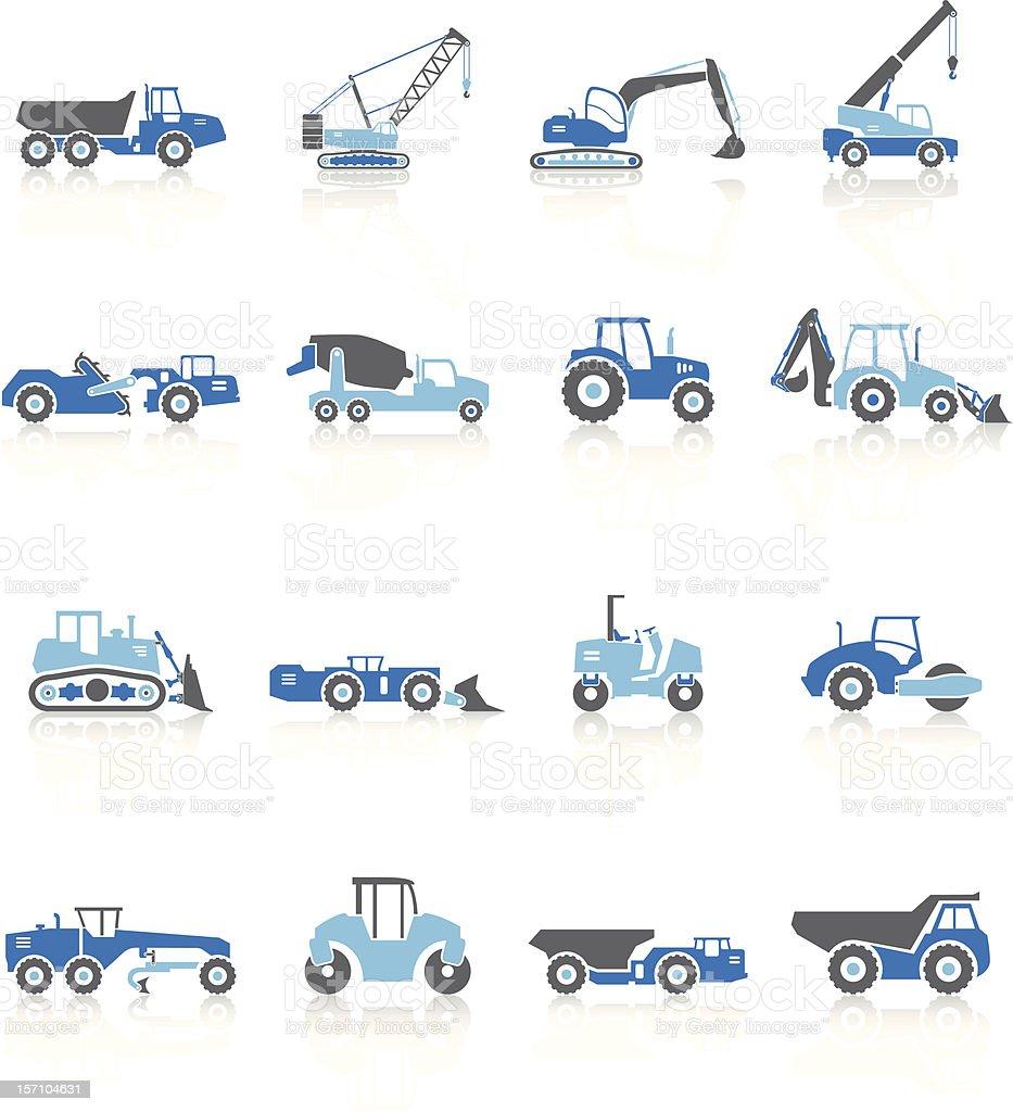Road Construction Vehicles - Blue Series vector art illustration