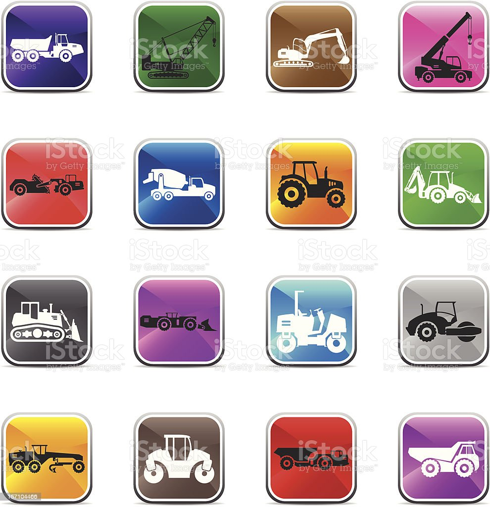 Road Construction Vehicles Silhouette - Shiny colors royalty-free stock vector art