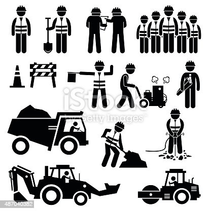 istock Road Construction Worker Stick Figure Pictogram Icons 487040382