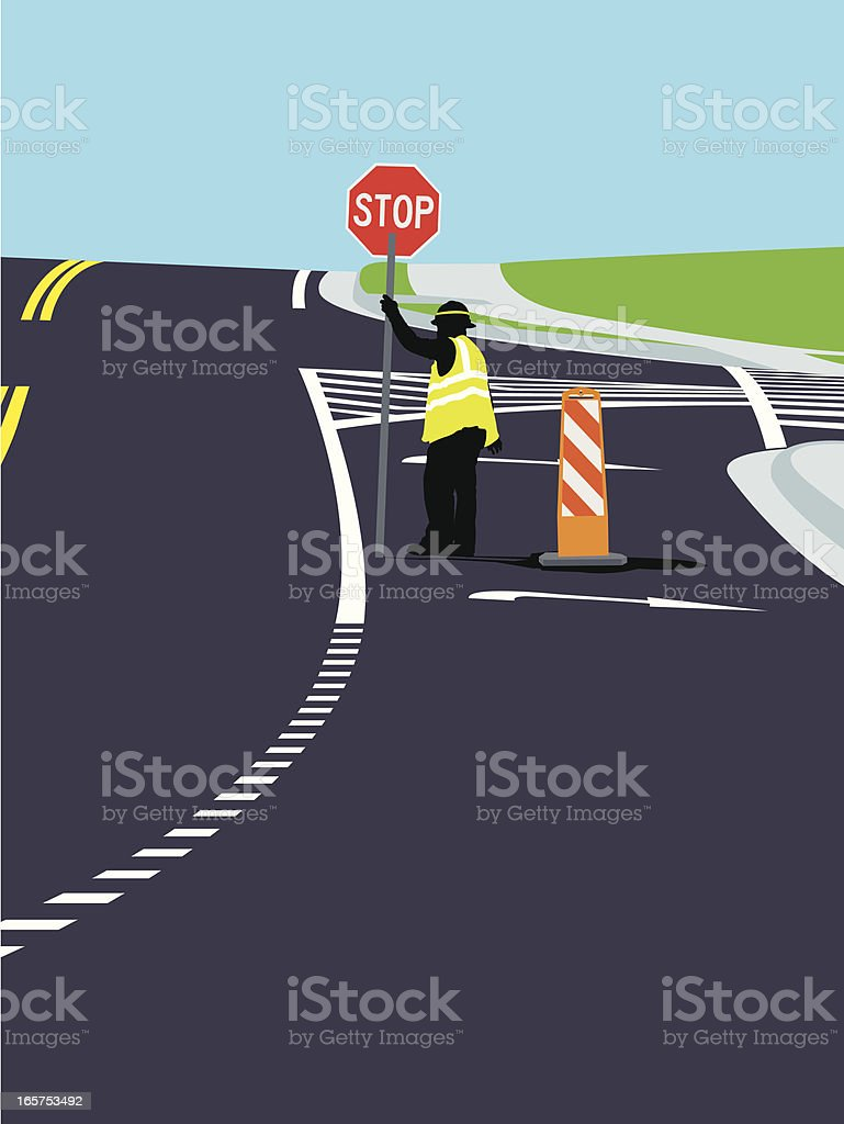 Road Construction - Worker, Stop Sign, Street Background royalty-free stock vector art
