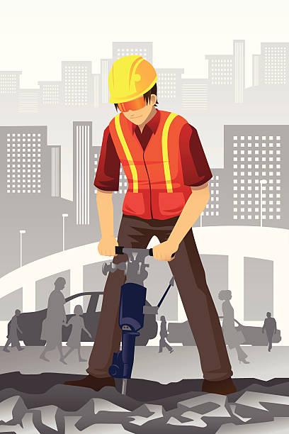Road construction worker vector art illustration