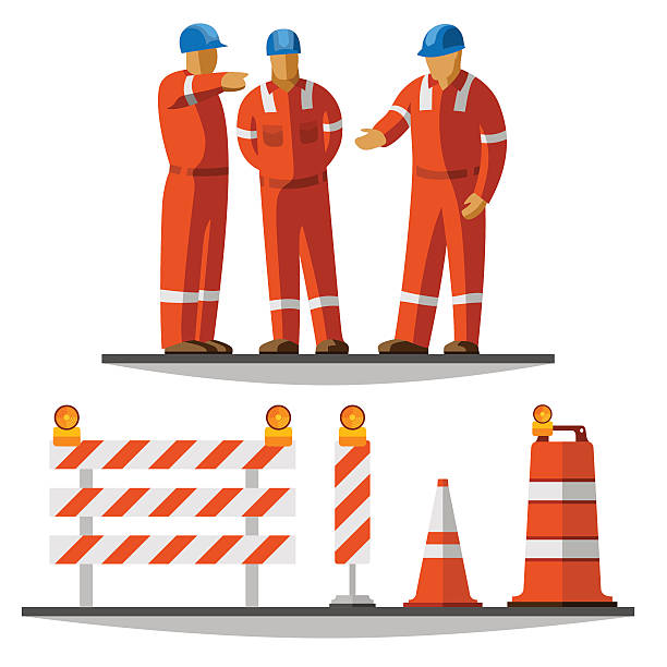 Road construction workers vector art illustration