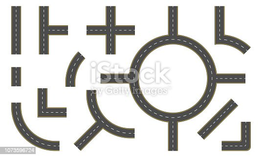 Road constructor. Highway elements for map and street design. Vector illustration.
