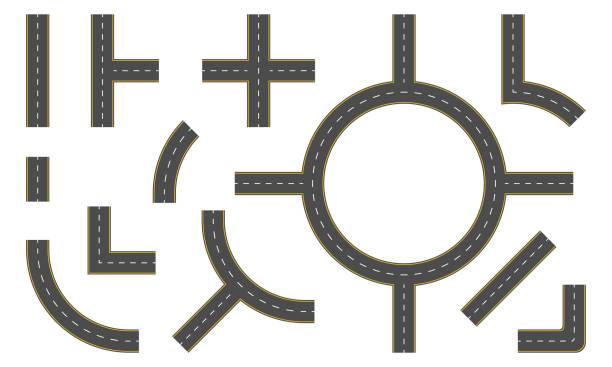 illustrations, cliparts, dessins animés et icônes de constructeur de route. éléments de la route de carte et conception rue. illustration vectorielle. - rond point