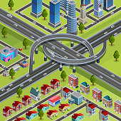 Multilevel roads interchange city infrastructure element connecting business and residential areas isometric constructor poster abstract vector illustration