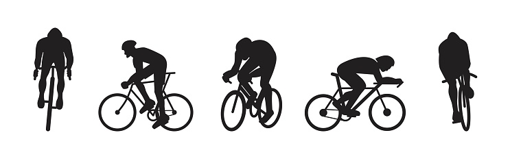 Road cycling silhouettes