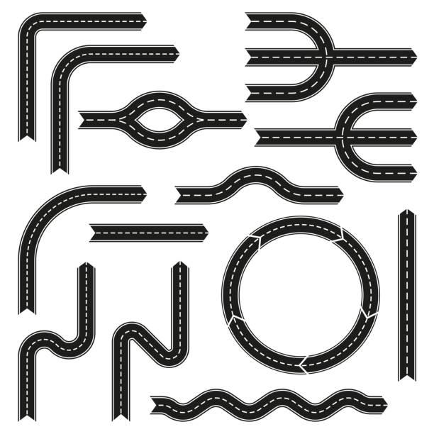 illustrations, cliparts, dessins animés et icônes de éléments de conception de route ensemble. route asphaltée avec des flèches. illustration vectorielle. - rond point