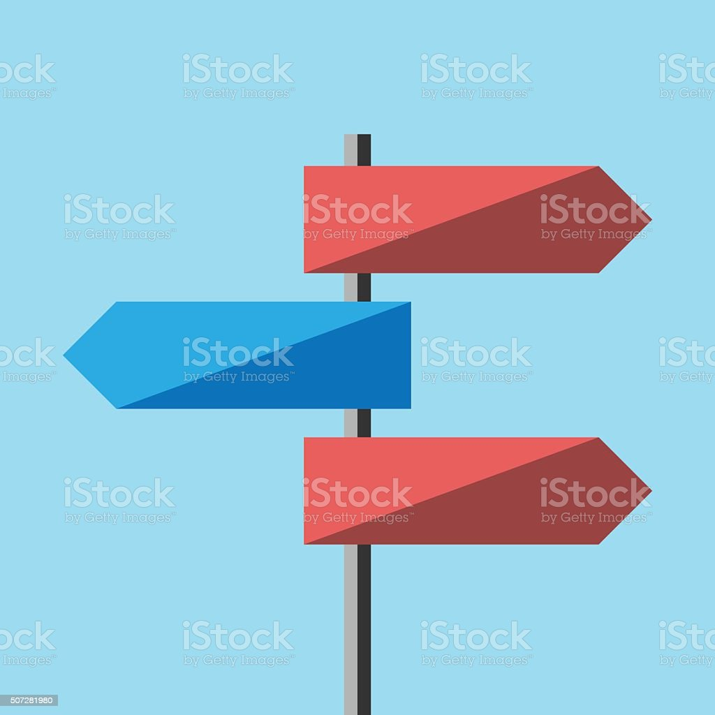 Road direction sign vector art illustration