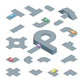 Road Map Design Element Set Isometric View. Element Traffic for Direction Transport in Town or Highway Parts. Vector illustration