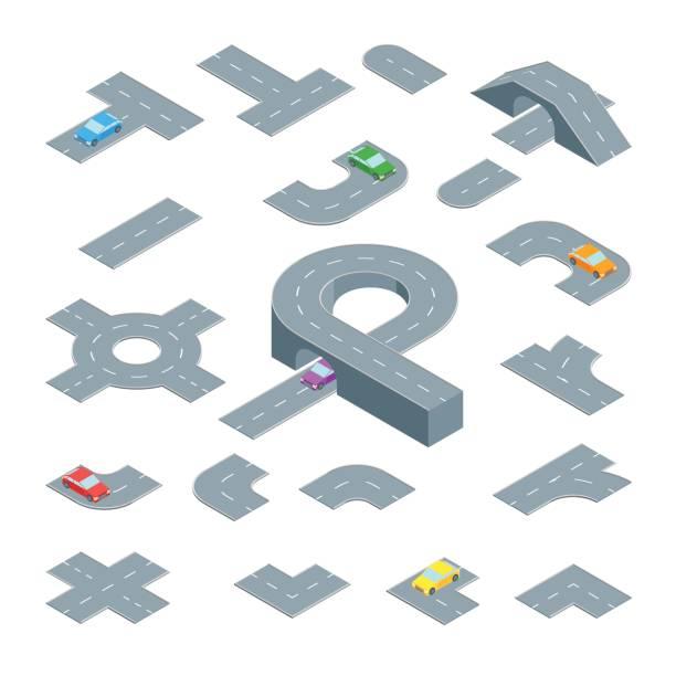 stockillustraties, clipart, cartoons en iconen met road element instellen isometrische weergave. vector - rotonde kruispunt