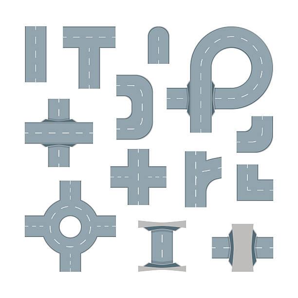 illustrations, cliparts, dessins animés et icônes de road element set. vector - rond point
