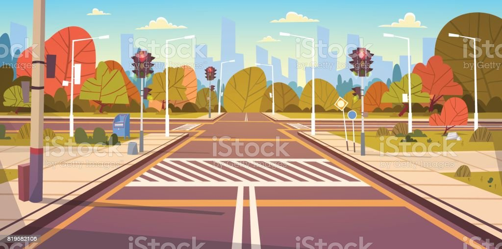 Road Empty City Street With Crosswalk And Traffic Lights vector art illustration