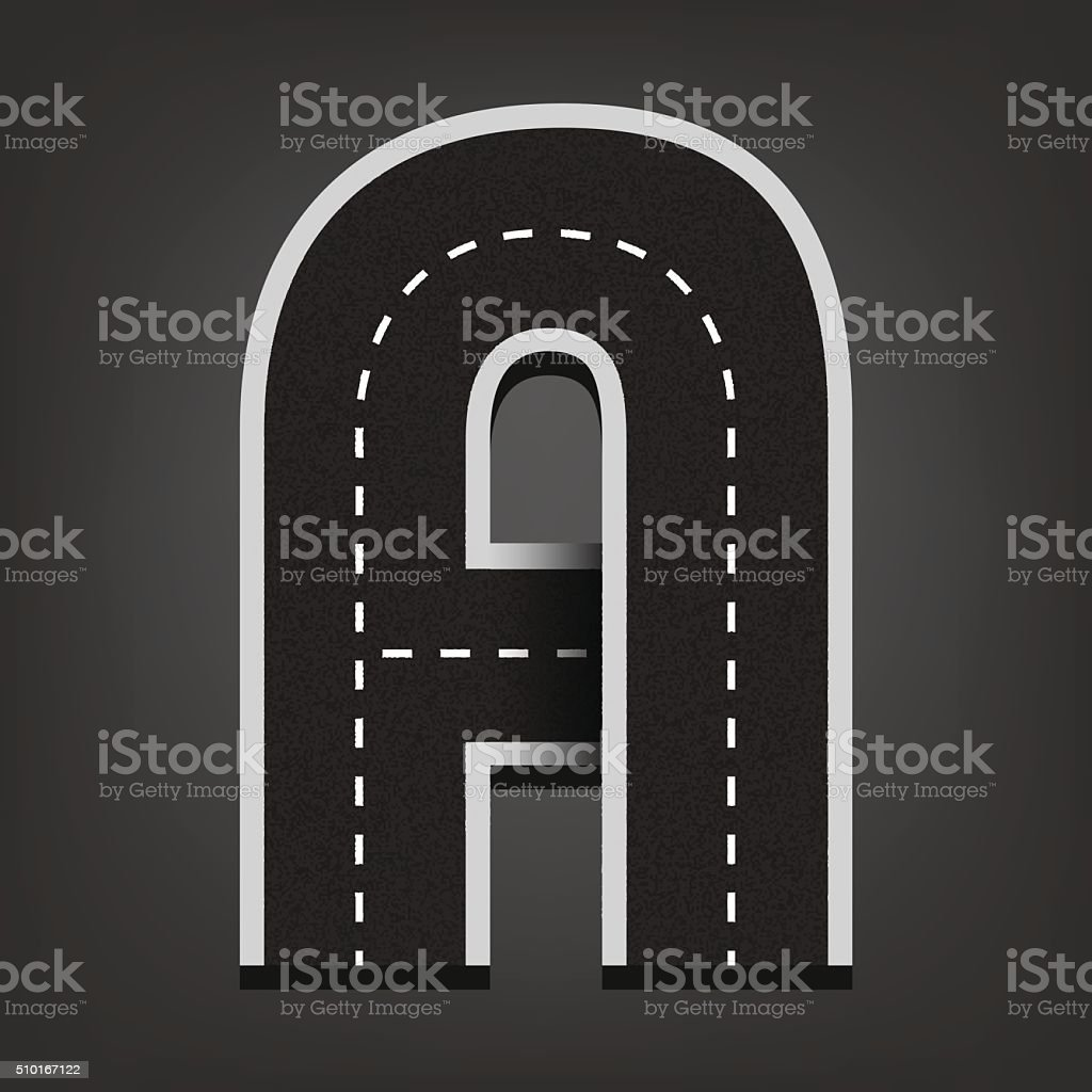 Road font. A letter. vector art illustration