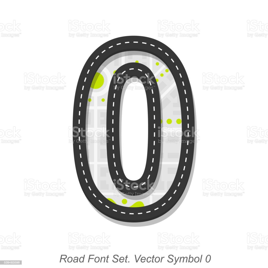 Road font sign, Symbol 0, Object on a white background vector art illustration
