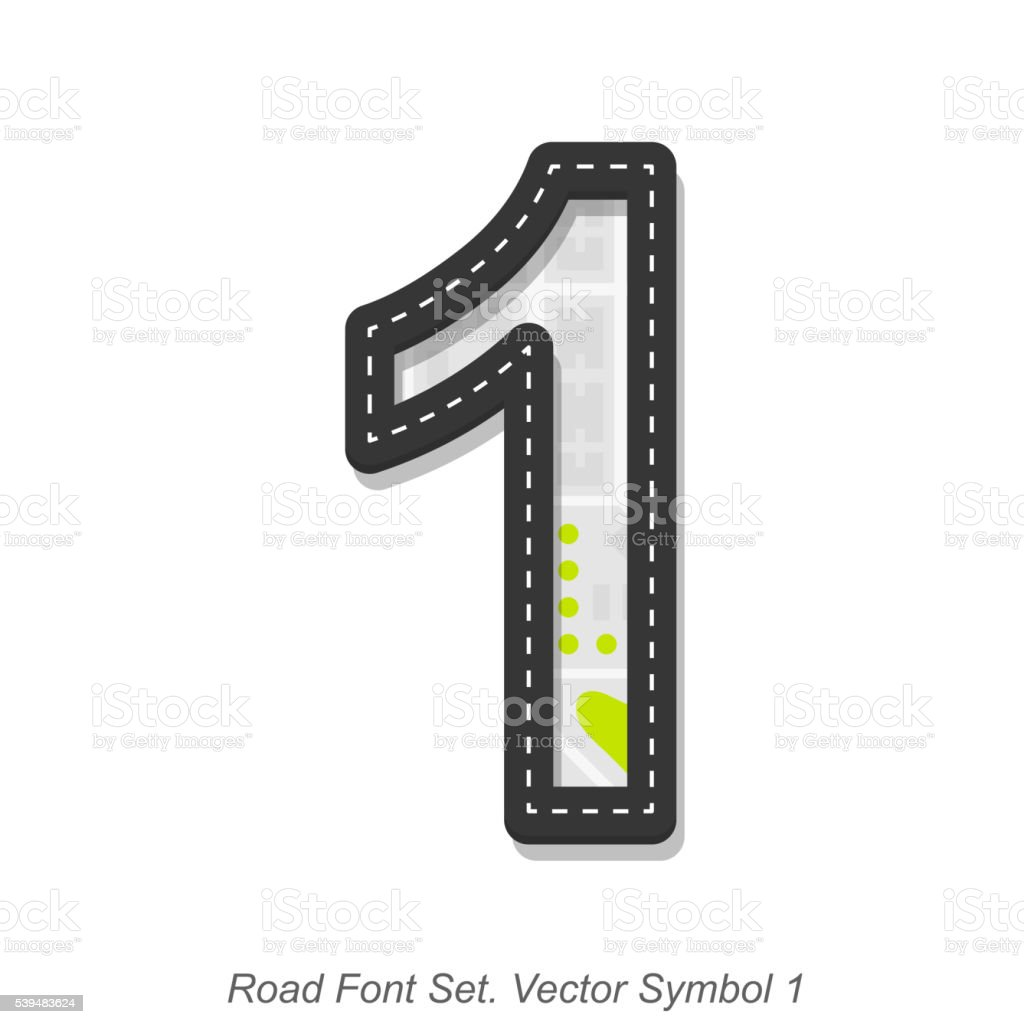 Road font sign, Symbol 1, Object on a white background vector art illustration