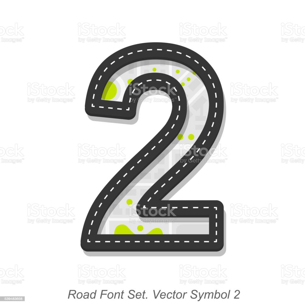 Road font sign, Symbol 2, Object on a white background vector art illustration