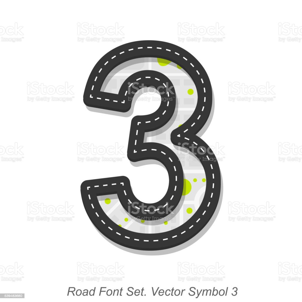 Road font sign, Symbol 3, Object on a white background vector art illustration