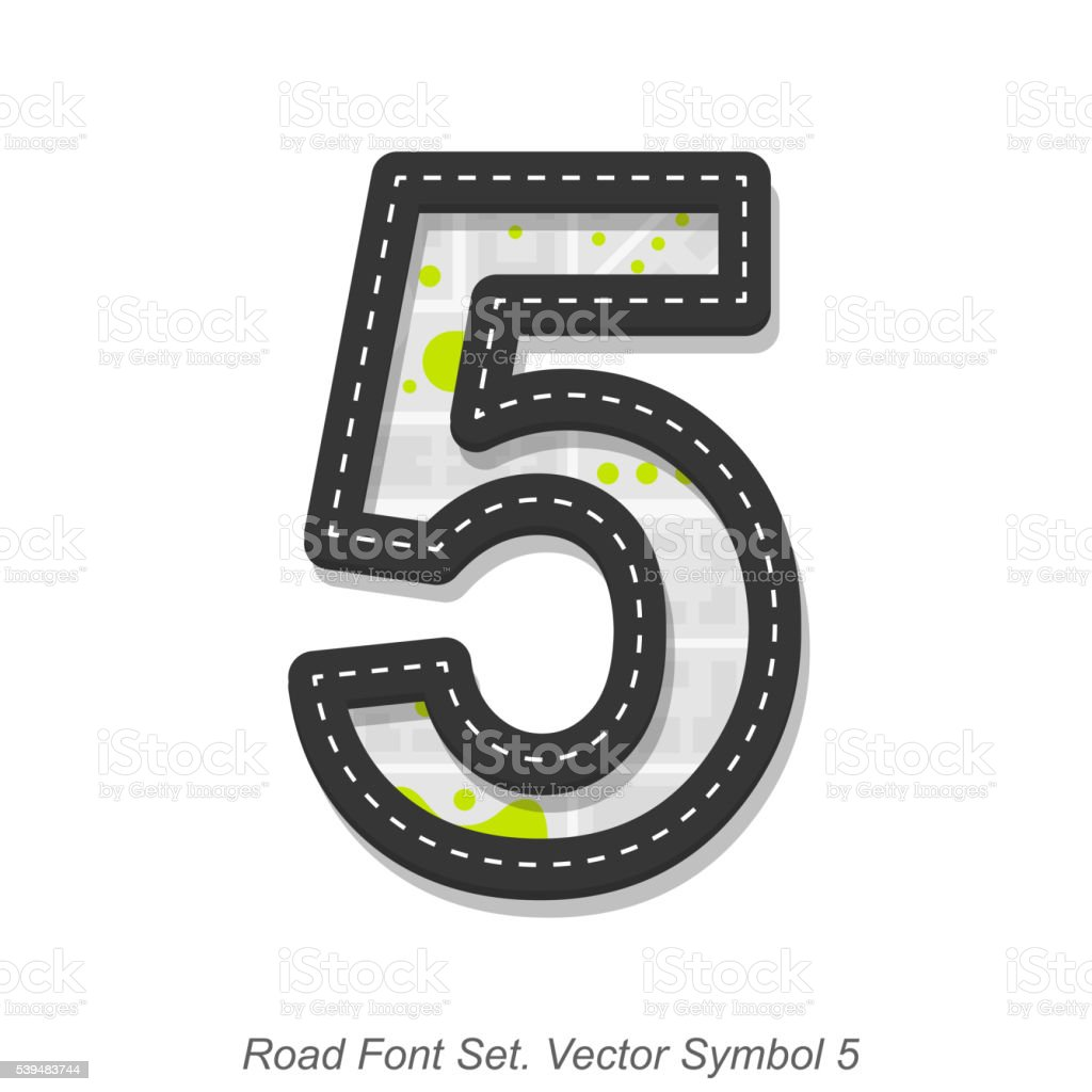 Road font sign, Symbol 5, Object on a white background vector art illustration