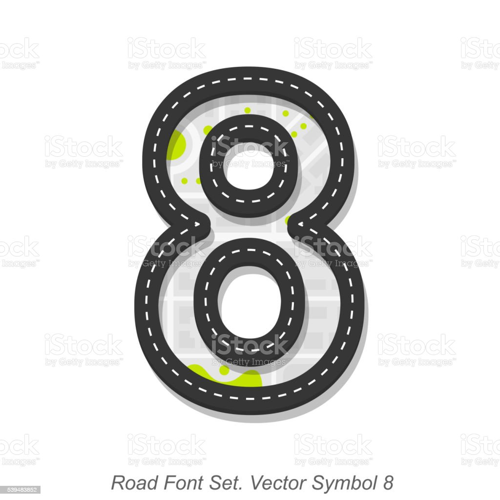 Road font sign, Symbol 8, Object on a white background vector art illustration