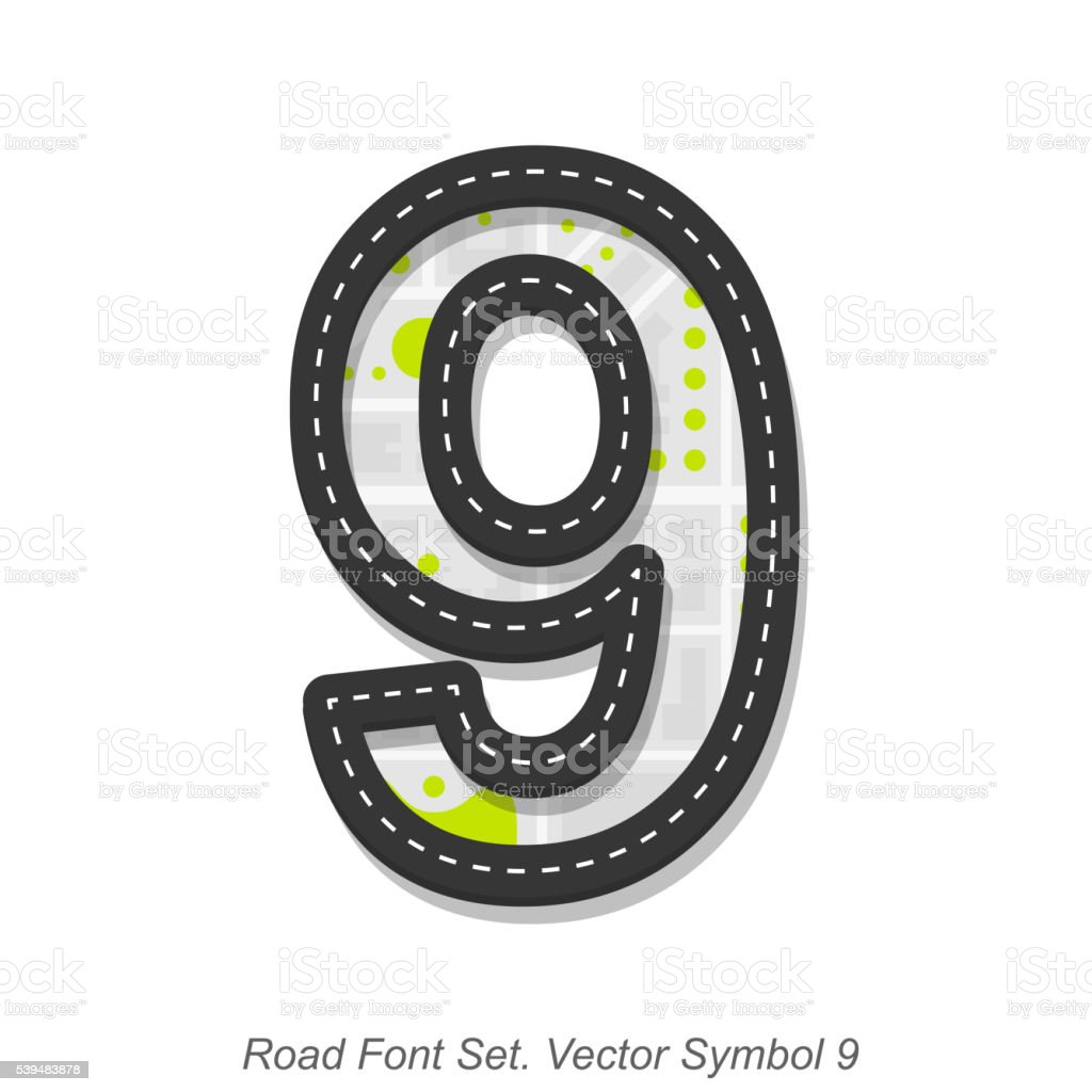 Road font sign, Symbol 9, Object on a white background vector art illustration