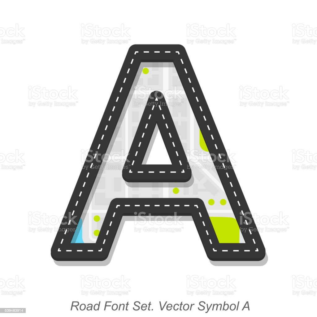 Road font sign, Symbol A, Object on white background vector art illustration