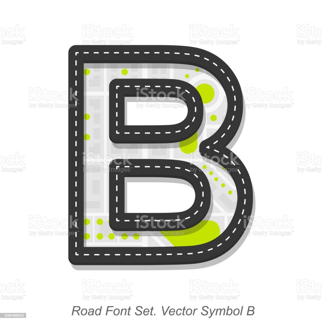 Road font sign, Symbol B, Object on a white background vector art illustration