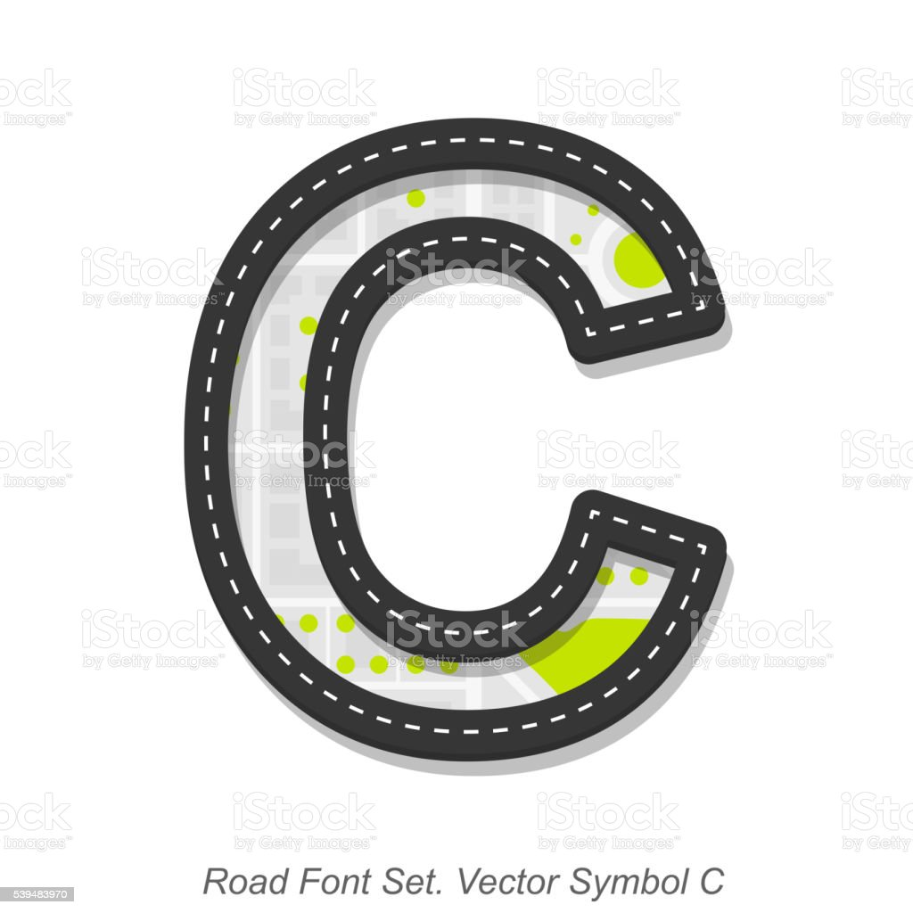 Road font sign, Symbol C, Object on a white background vector art illustration