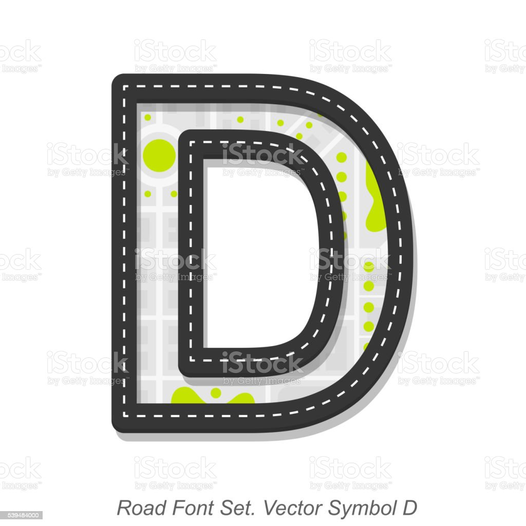 Road font sign, Symbol D, Object on a white background vector art illustration
