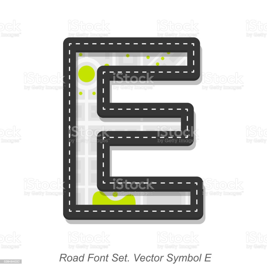 Road font sign, Symbol E, Object on a white background vector art illustration
