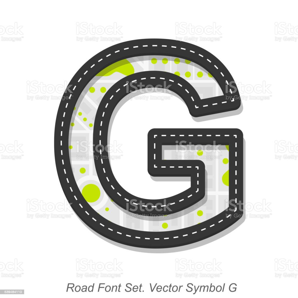 Road font sign, Symbol G, Object on a white background vector art illustration