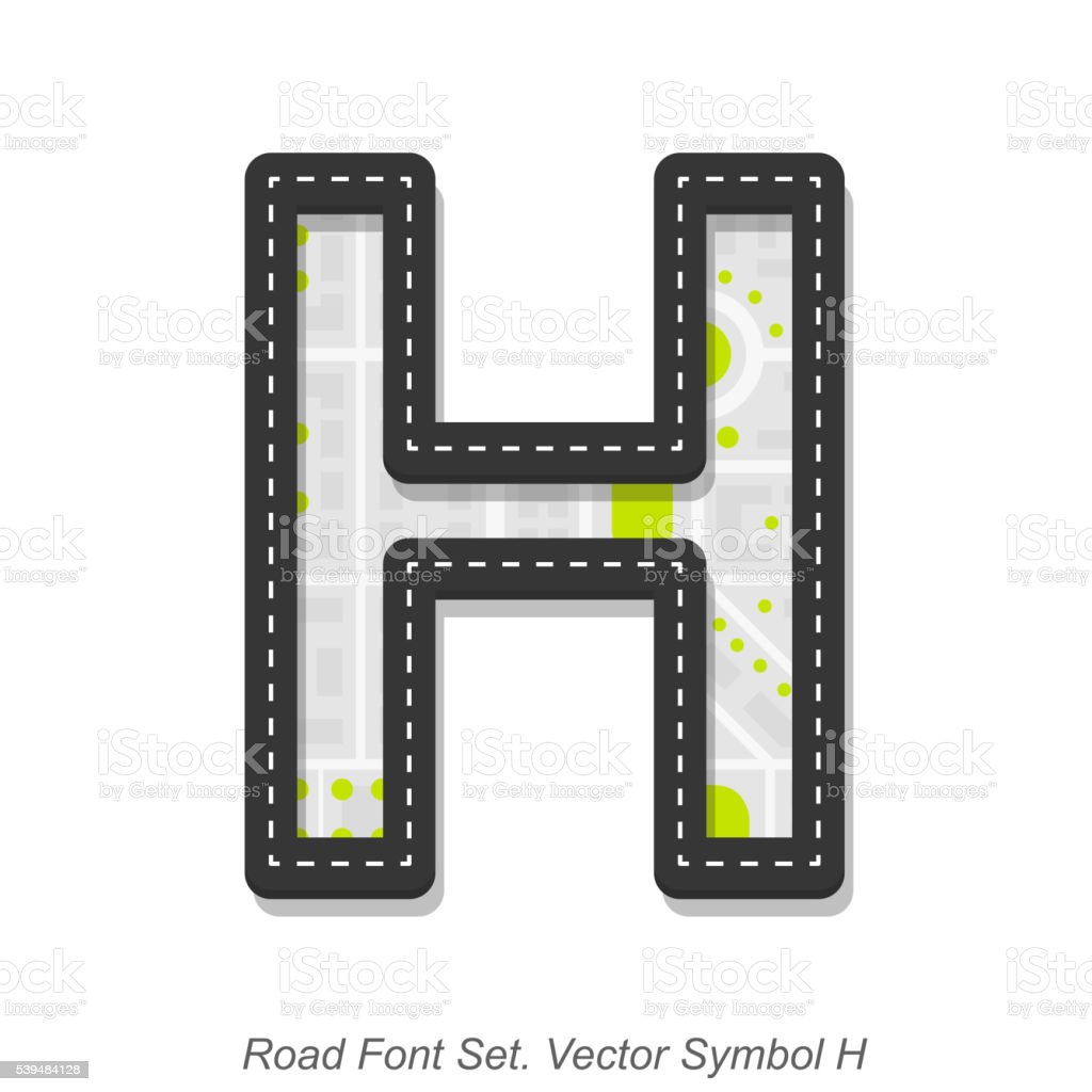 Road font sign, Symbol H, Object on a white background vector art illustration