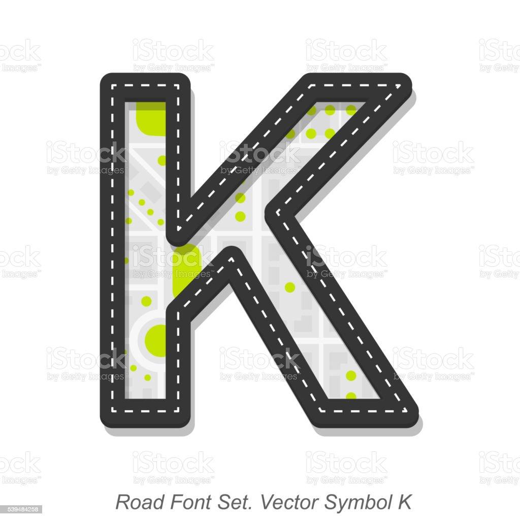 Road font sign, Symbol K, Object on a white background vector art illustration