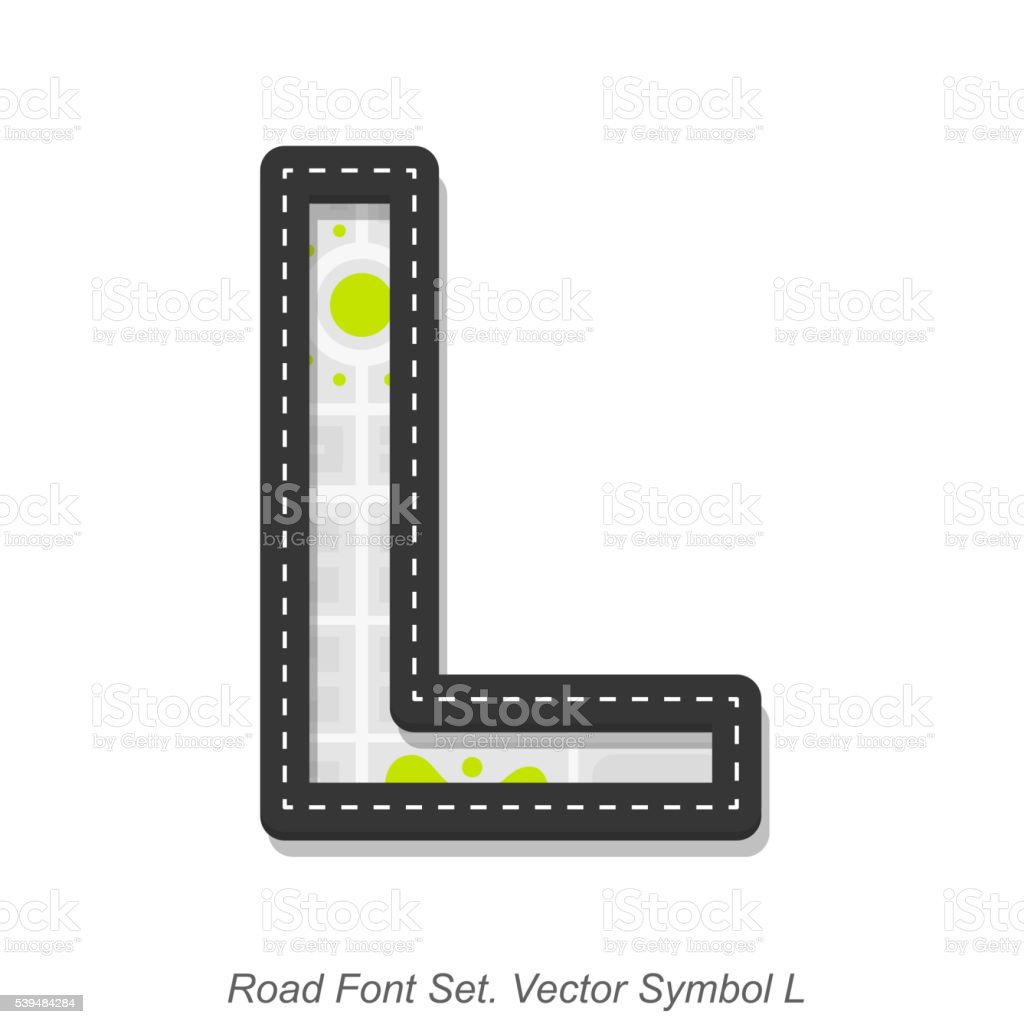 Road font sign, Symbol L, Object on a white background vector art illustration