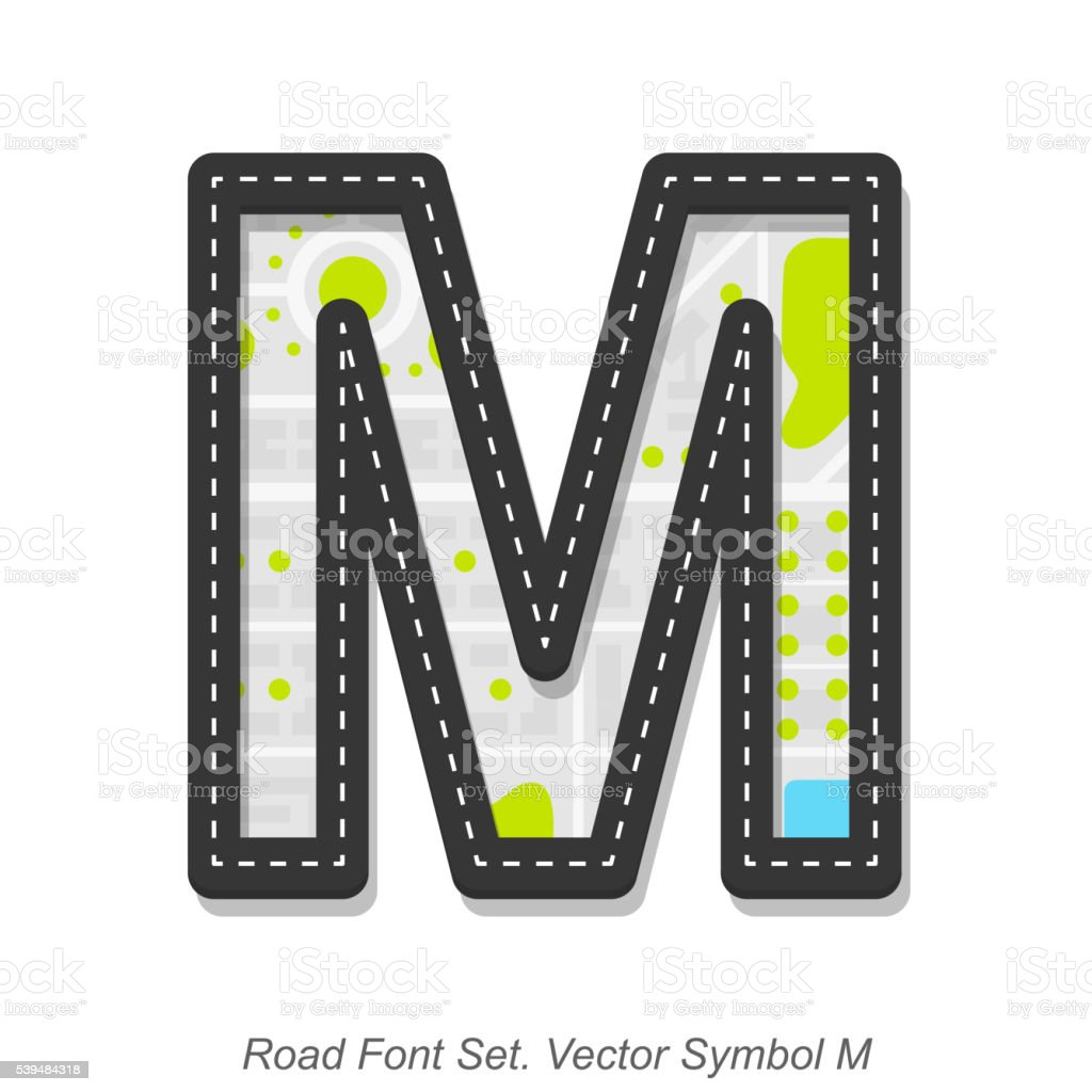 Road font sign, Symbol M, Object on a white background vector art illustration