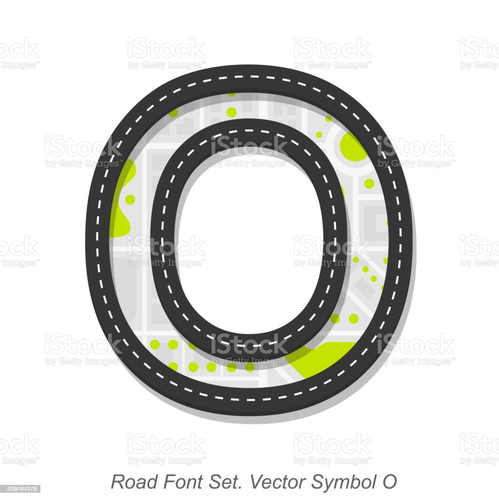 Road font sign, Symbol O, Object on a white background vector art illustration