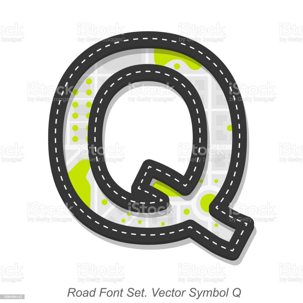 Road font sign, Symbol Q, Object on a white background vector art illustration