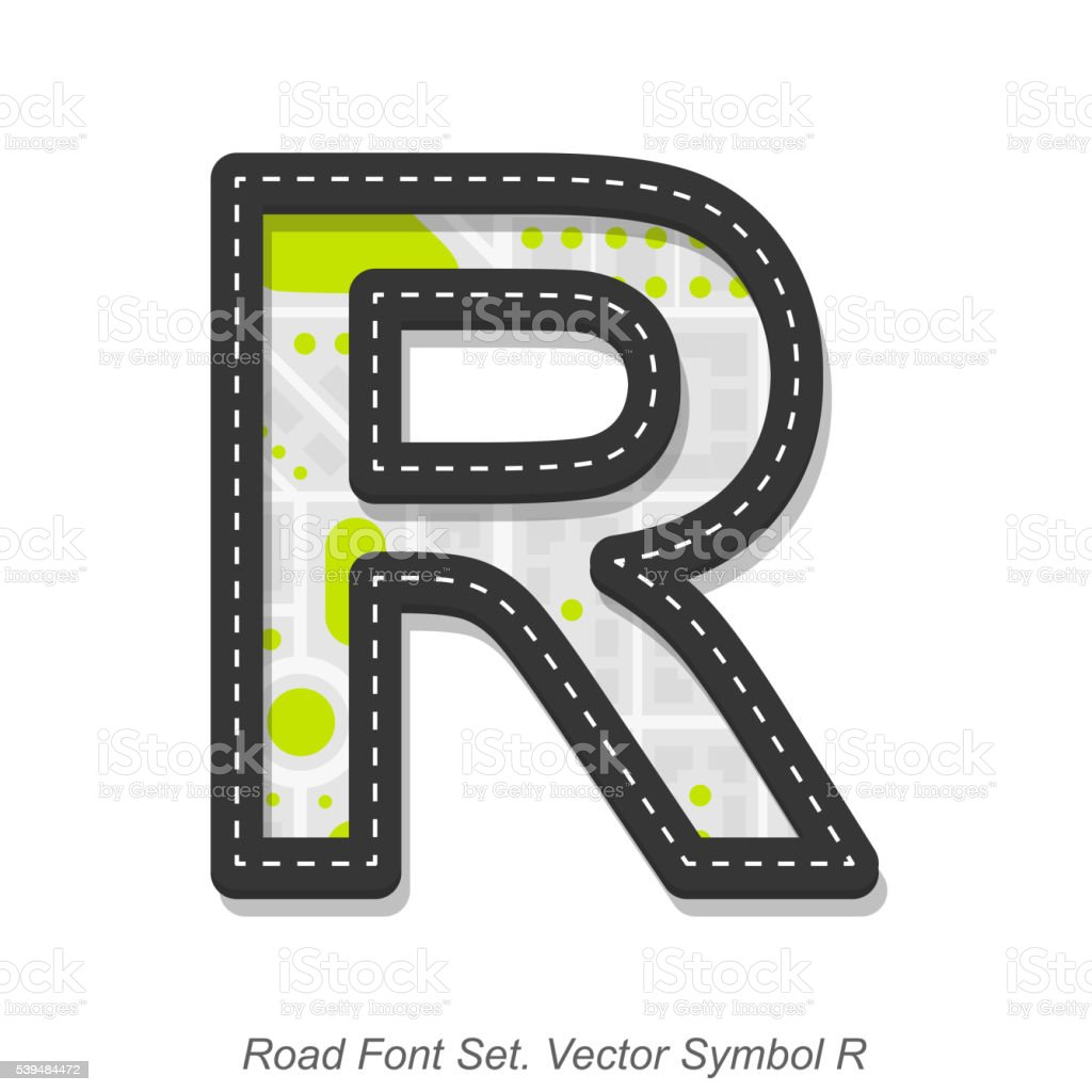 Road font sign, Symbol R, Object on a white background vector art illustration