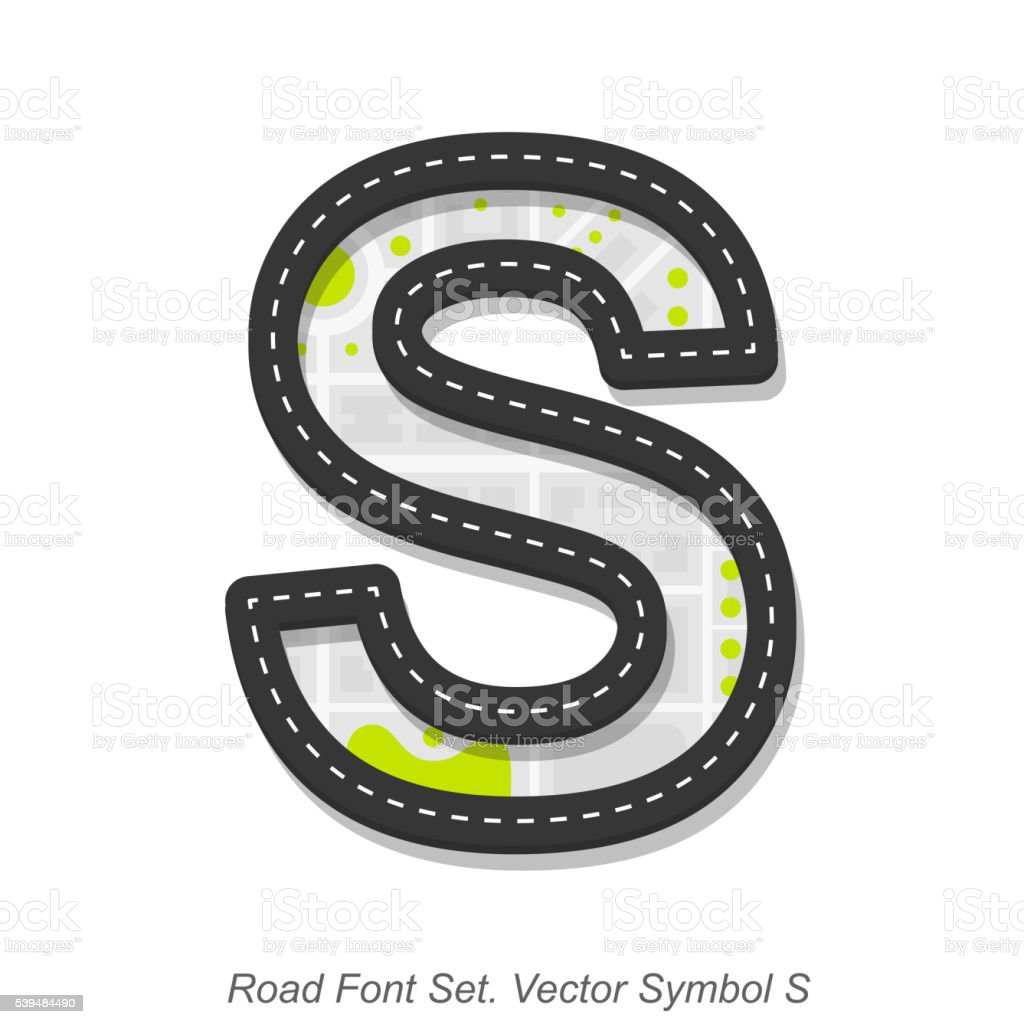 Road font sign, Symbol S, Object on a white background vector art illustration