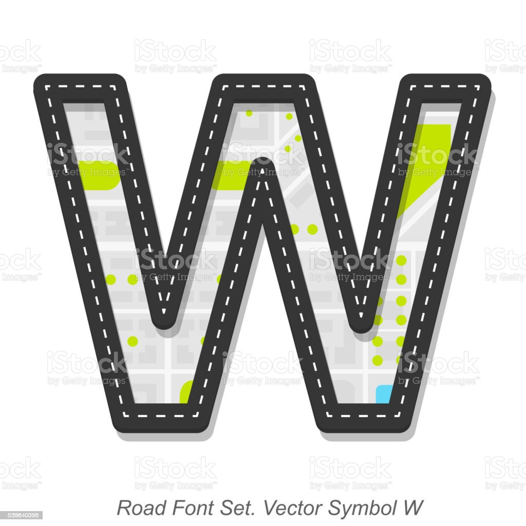 Road font sign, Symbol W, Object on a white background vector art illustration