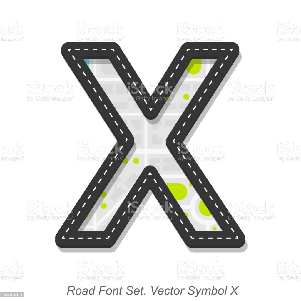 Road font sign, Symbol X, Object on a white background vector art illustration