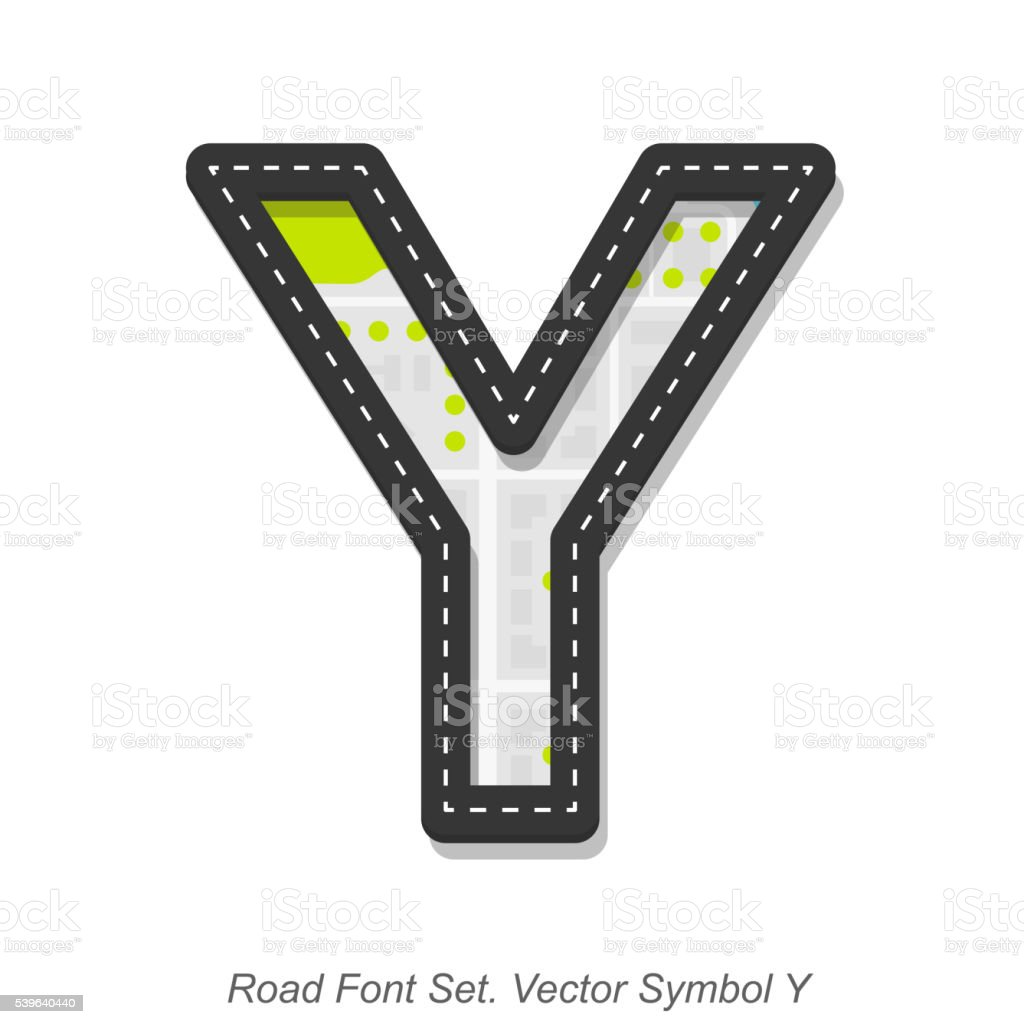 Road font sign, Symbol Y, Object on a white background vector art illustration