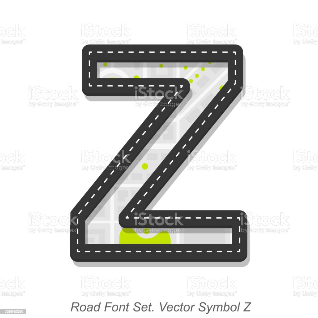 Road font sign, Symbol Z, Object on a white background vector art illustration