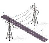 Road for cars crossed by high voltage lines, street lamps. Infrastructure intersecting.