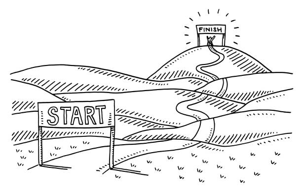 Road From Start To Finish Landscape Drawing Hand-drawn vector drawing of a Road From Start To Finish Landscape. Black-and-White sketch on a transparent background (.eps-file). Included files are EPS (v10) and Hi-Res JPG. running stock illustrations