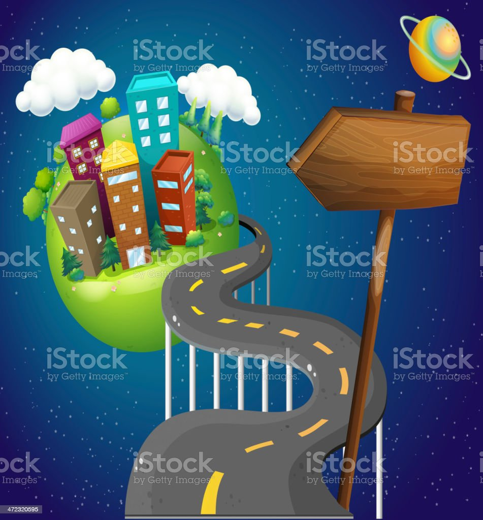Road going to the city with a wooden arrow royalty-free stock vector art