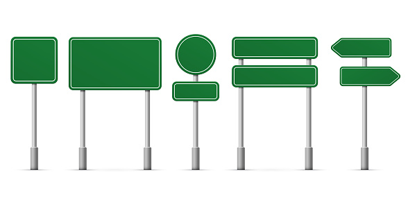 Road green signs. Vector blank isolated icons template clipart