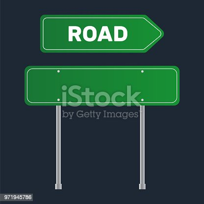 Road Grenn Sign Template Street Sign For A Text Stock Vector Art