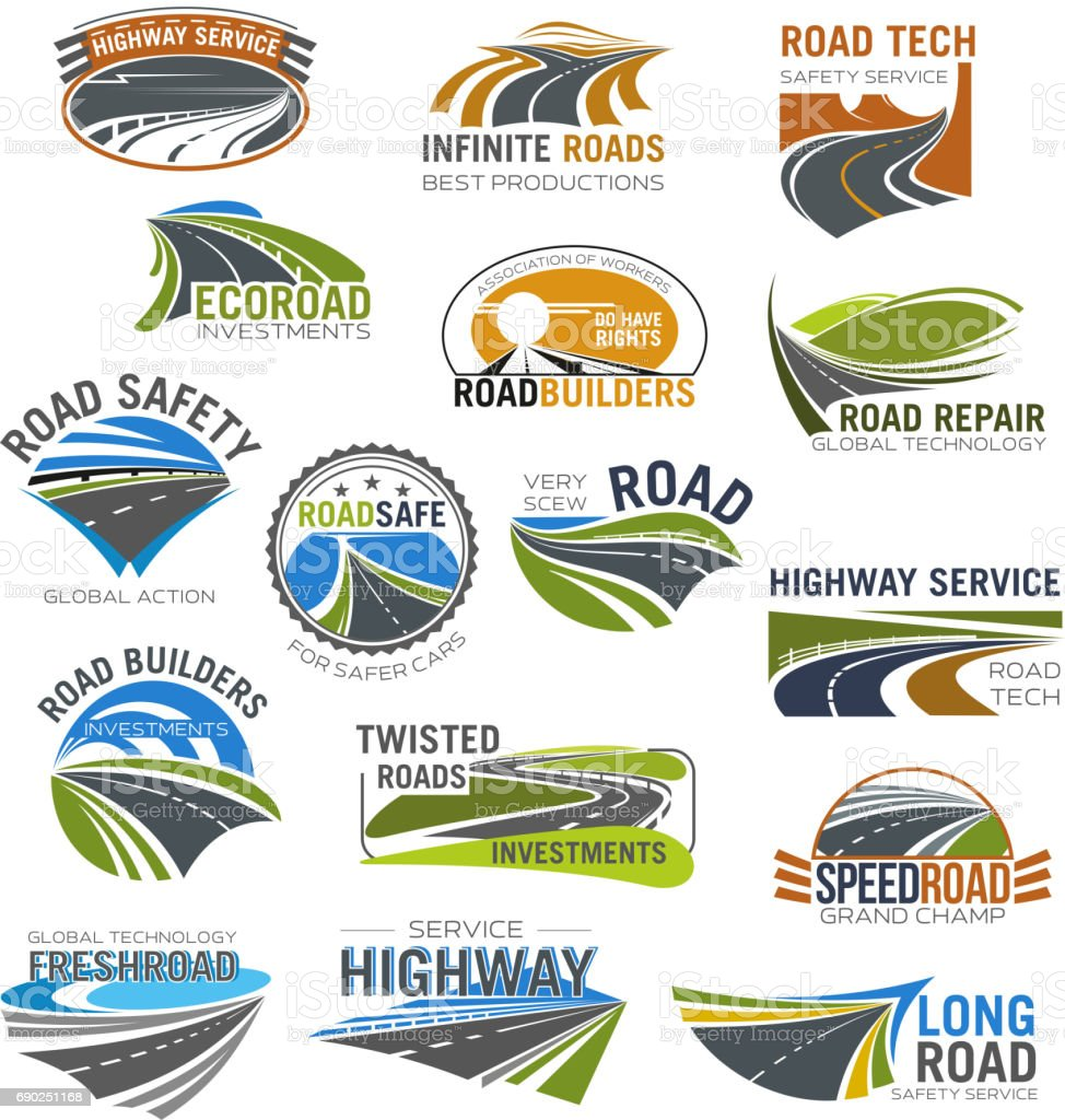 Road, highway and freeway isolated symbol set vector art illustration