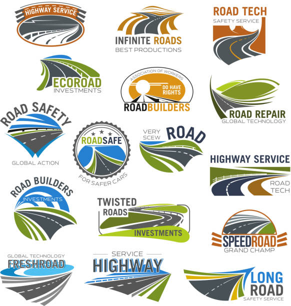ilustraciones, imágenes clip art, dibujos animados e iconos de stock de carretera, autovía y autopista aislaron conjunto de símbolo - íconos de caminos