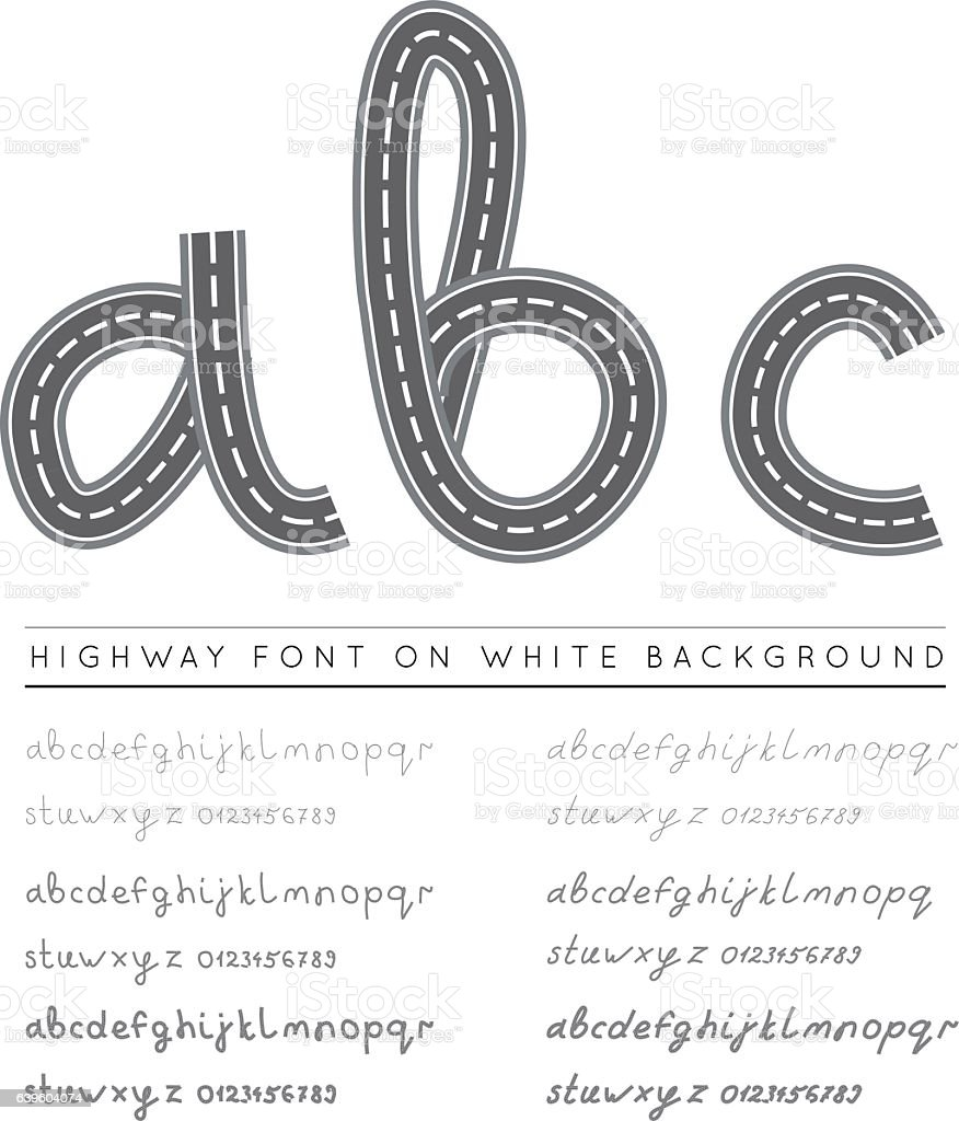 Road highway font with numbers vector art illustration
